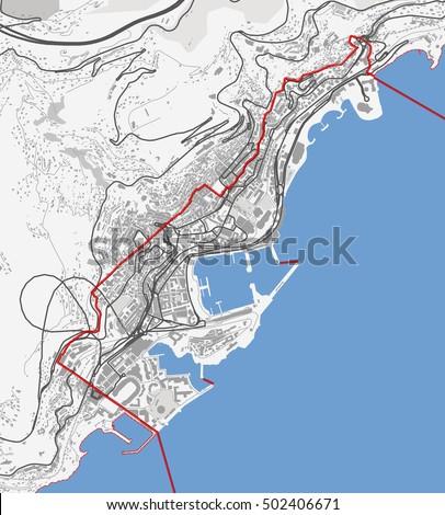 Monte Carlo World Map.Map Monaco City Monte Carlo Roads Stock Vector Royalty Free
