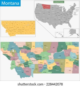 Map Montana Cities Images, Stock Photos & Vectors   Shutterstock