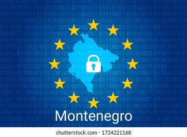 Map of Montenegro, with lock and binary code background. europe union internet blocking, virus attack, privacy protect. vector illustration