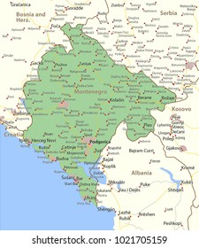 Map of Montenegro. Shows country borders, urban areas, place names and roads. Labels in English where possible.Projection: Mercator.