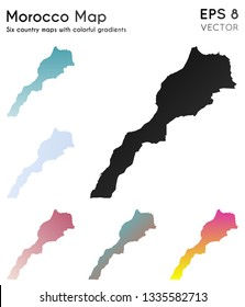 Map of Morocco with beautiful gradients. Alive set of country maps. Pleasant vector illustration.