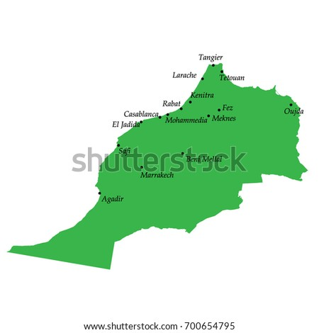 Map Morocco Main Cities Stock Vector (Royalty Free) 700654795 ...