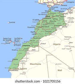 Map of Morocco. Shows country borders,  place names and roads. Labels in English where possible.Projection: Mercator.