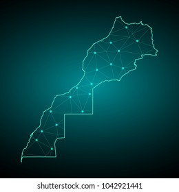 Map of Morocco. Wire frame 3D mesh polygonal network line, design sphere, dot and structure. communications map of Morocco. Vector Illustration EPS10.