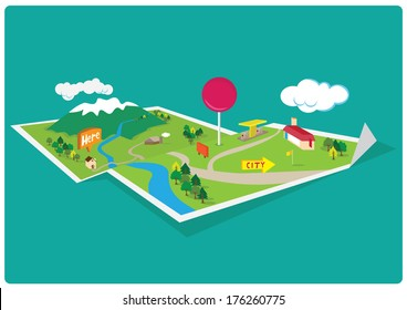 Map Mountain Navigation - 3D Concept