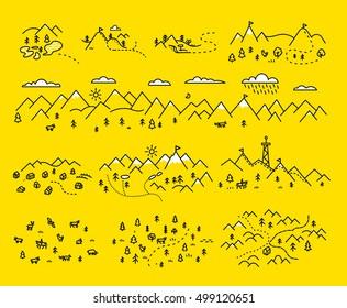 Map mountains. Set graphic elements yellow black contour
