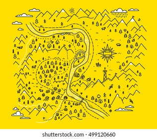 Map mountains. Set graphic elements yellow black contour