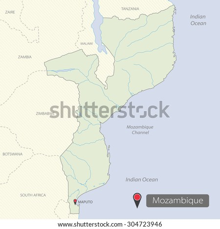 Map Mozambique Africa Stock Vector Royalty Free 304723946
