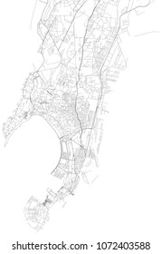 Map of Mumbai, satellite view, city, India. Streets of the city