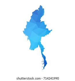 Map of Myanmar - Blue Geometric Rumpled Triangular , Polygonal Design For Your . Vector illustration eps 10.