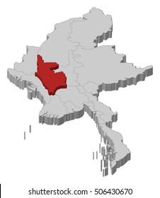 Map - Myanmar, Magway - 3D-Illustration