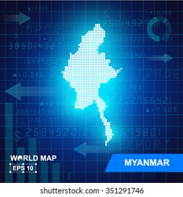 Map Of Myanmar,Abstract background, vector illustration