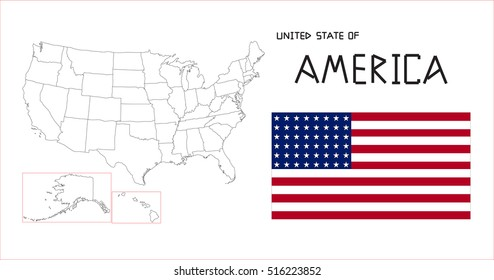 Map and national flag of America.Map Of America With Flag Isolated On White Background, Vector Illustration Flag and Map of America for continue.