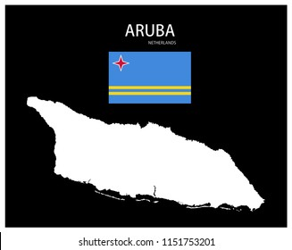 Map and National flag of Aruba (Netherlands),Map Of Aruba (Netherlands) With Flag Isolated On Black Background,Vector Illustration Flag and Map of Aruba (Netherlands) for continue.
