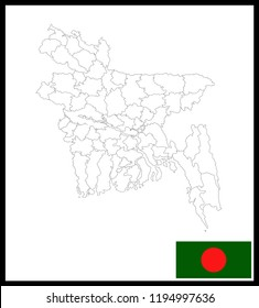 Map and National flag of Bangladesh,Map Of Bangladesh With Flag Isolated On White Background,Vector Illustration Flag and Map of Bangladesh for continue.