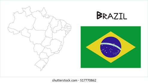 Map and National flag of Brazil.Map Of Brazil With Flag Isolated On White Background,Vector Illustration Flag and Map of Brazil for continue.