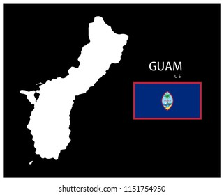 Map and National flag of Guam (U.S.),Map Of Guam (U.S.) With Flag Isolated On Black Background,Vector Illustration Flag and Map of Guam (U.S.) for continue.