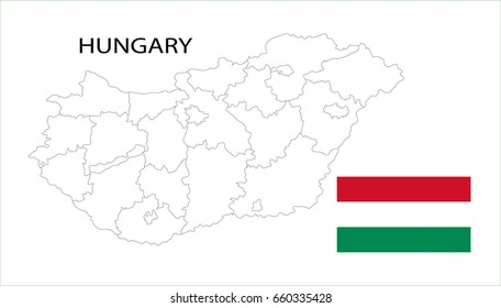 Map and National flag of Hungary.