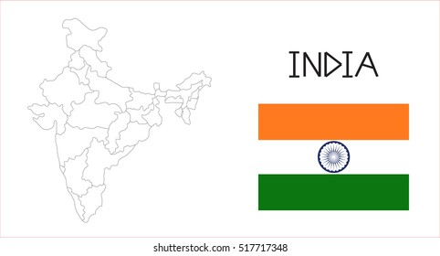 Map and National flag of India.Map Of India With Flag Isolated On White Background,Vector Illustration Flag and Map of India for continue.