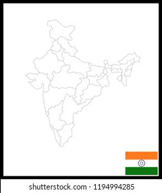 Map and National flag of India,Map Of India With Flag Isolated On White Background,Vector Illustration Flag and Map of India for continue.