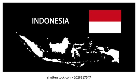 Map and National flag of Indonesia,Map Of Indonesia With Flag Isolated On Black Background,Vector Illustration Flag and Map of Indonesia for continue.
