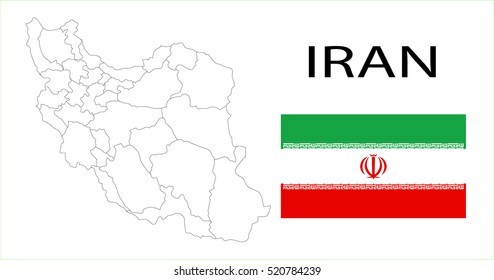 Map and National flag of Iran.