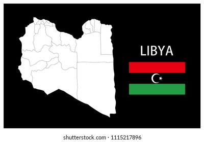 Map and National flag of Libya,Map Of Libya With Flag Isolated On Black Background,Vector Illustration Flag and Map of Libya for continue.