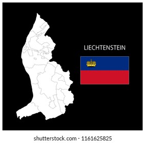 Map and National flag of Liechtenstein,Map Of Liechtenstein With Flag Isolated On Black Background,Vector Illustration Flag and Map of Liechtenstein for continue.