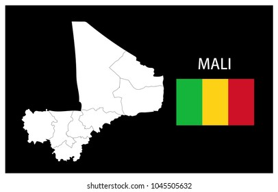 Map and National flag of Mali,Map Of Mali With Flag Isolated On Black Background,Vector Illustration Flag and Map of Mali for continue.