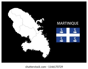 Map and National flag of Martinique,Map Of Martinique With Flag Isolated On Black Background,Vector Illustration Flag and Map of Martinique for continue.
