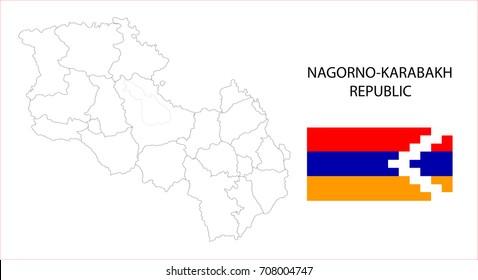 Map and National flag of Nagorno-Karabakh Republic .