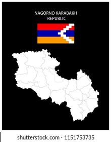 Map and National flag of Nagorno-Karabakh Republic,Map Of Nagorno-Karabakh Republic With Flag Isolated On Black Background,Vector Illustration Flag and Map of Nagorno-Karabakh Republic for continue.