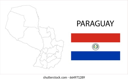 Map and National flag of Paraguay.
