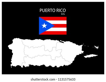 Map and National flag of Puerto Rico (U.S.),Map Of Puerto Rico (U.S.) With Flag Isolated On Black Background,Vector Illustration Flag and Map of Puerto Rico (U.S.) for continue.
