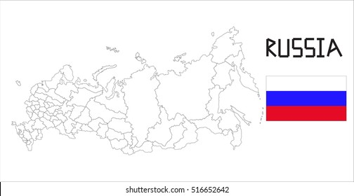 Map and National flag of Russia.Map Of Russia With Flag Isolated On White Background, Vector Illustration Flag and Map of Russia for continue.