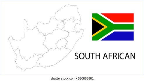 Map and National flag of South African.