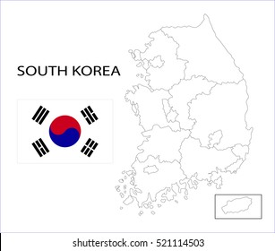 Map and National flag of South Korea.