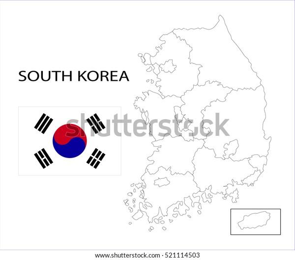 Etela Korean Kartta Ja Kansallinen Lippu Arkistovektori