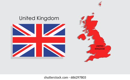 Map and National flag of United Kingdom
