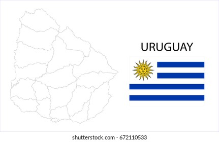 Map and National flag of Uruguay.