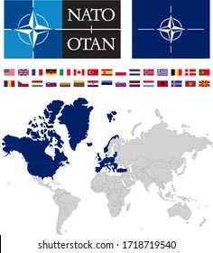 Map of NATO countries with logos and flags