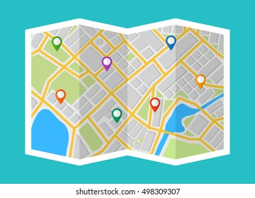 Map with navigation. Finding the way concept. Flat vector illustration.