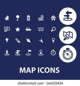 map, navigation icons