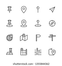 Map navigation icons set
