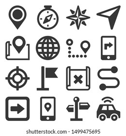 Map and Navigation Icons Set on White Background. Vector