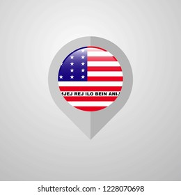 Map Navigation pointer with Bikini Atoll flag design vector