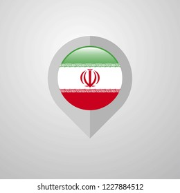 Map Navigation pointer with Iran flag design vector