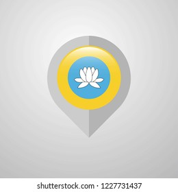 Map Navigation pointer with Kalmykia flag design vector