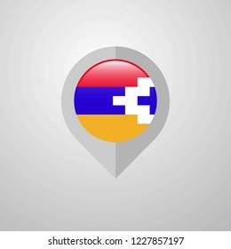 Map Navigation pointer with Nagorno Karabakh Republic flag design vector