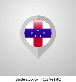 Map Navigation pointer with Netherlands Antilles flag design vector